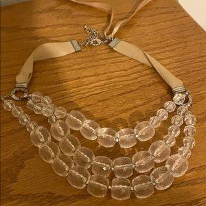 Ribbon tie beaded necklace